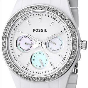 Fossil White Stella es1967 Resin Watch